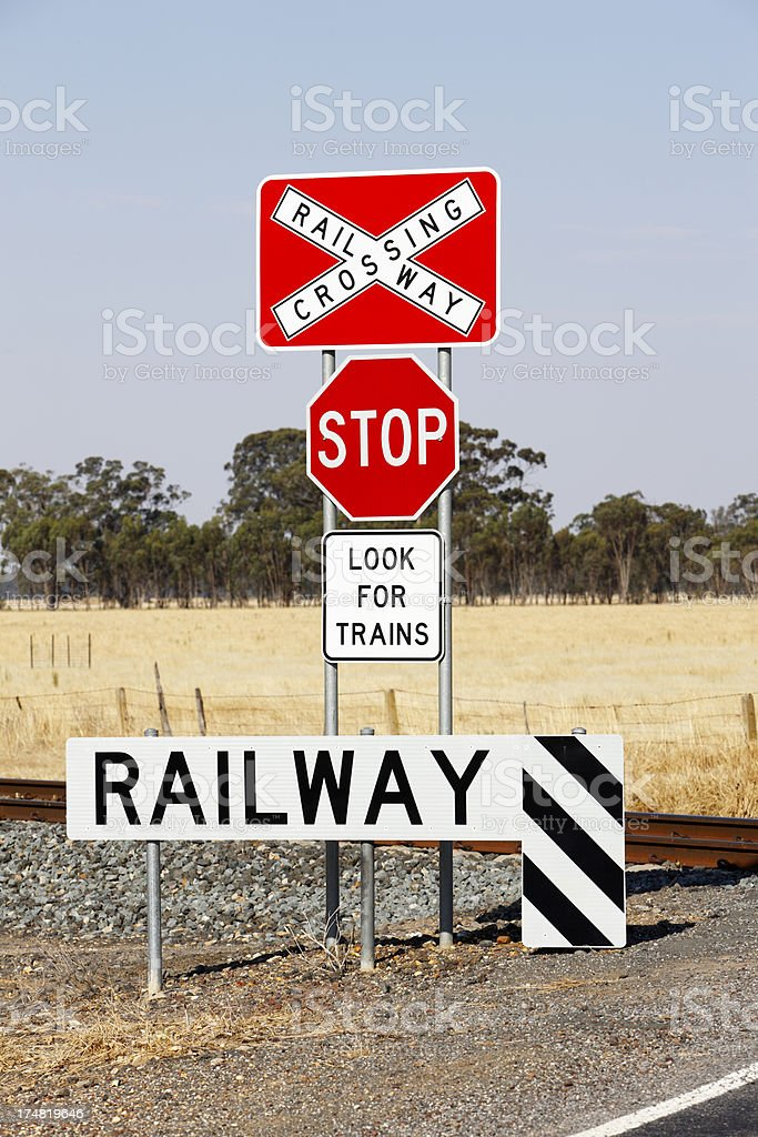 Four warning signs at dangerous rural railway crossing royalty-free stock photo
