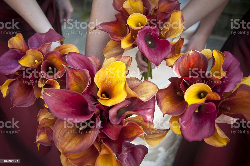 four wedding bouquets in circle stock photo