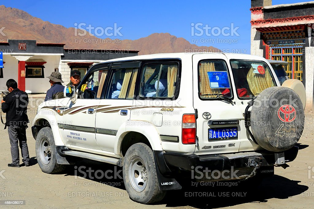 Four wheel drive car at stop. Gepelwater Mill area-Tibet. 1662 stock photo