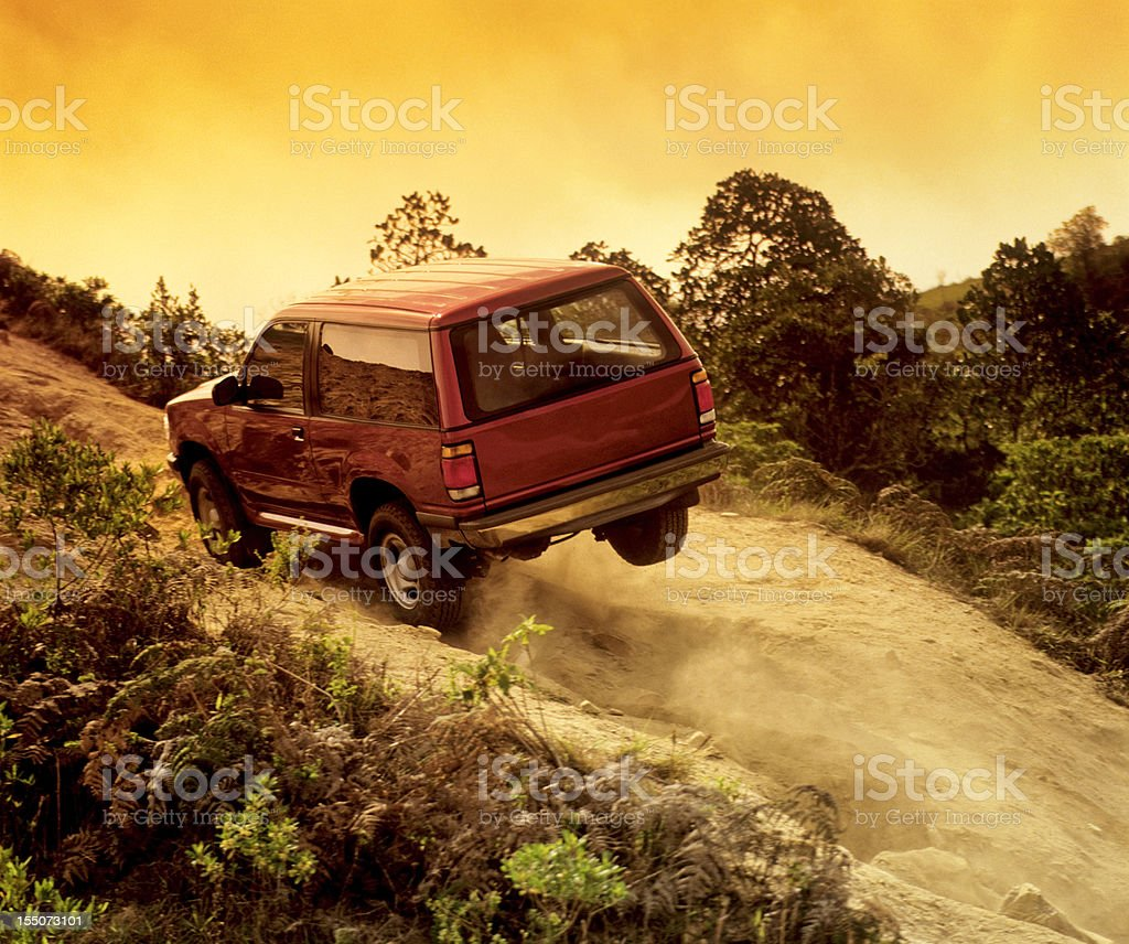 four wheel drive in action stock photo
