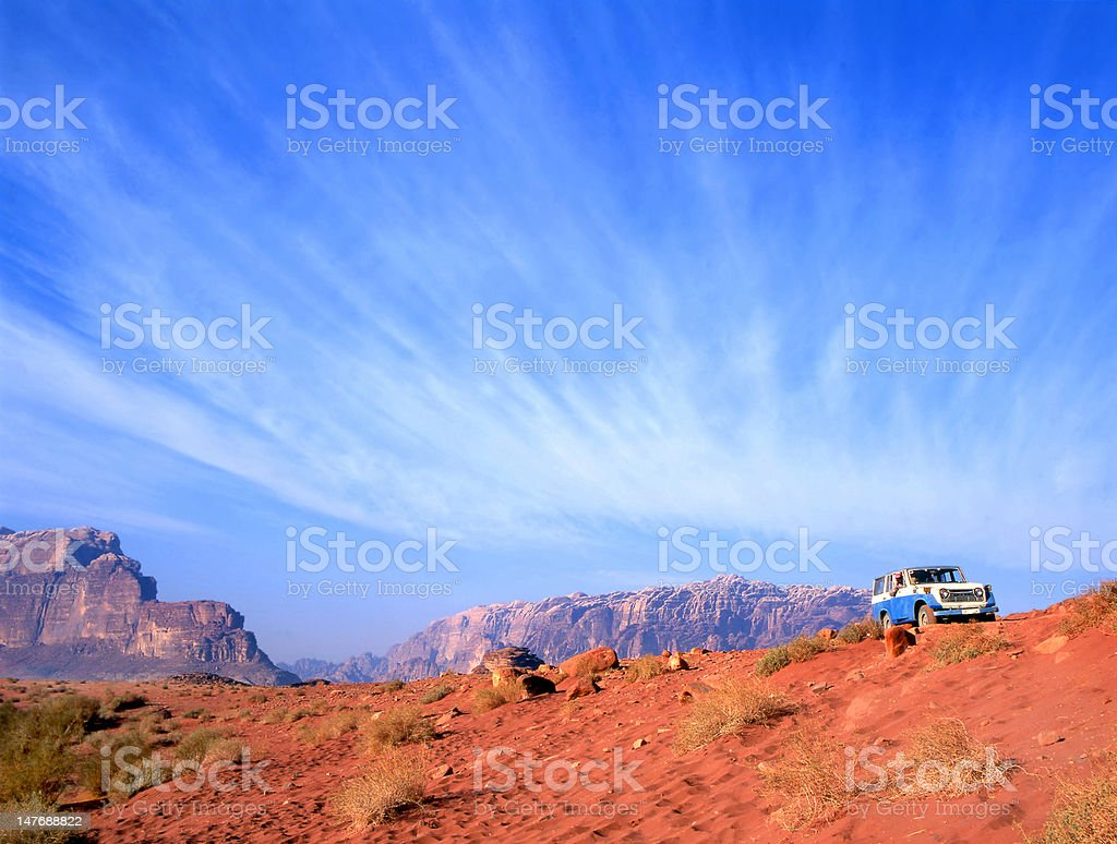 four  wheel drive in Wadi Rum desert, Jordan stock photo