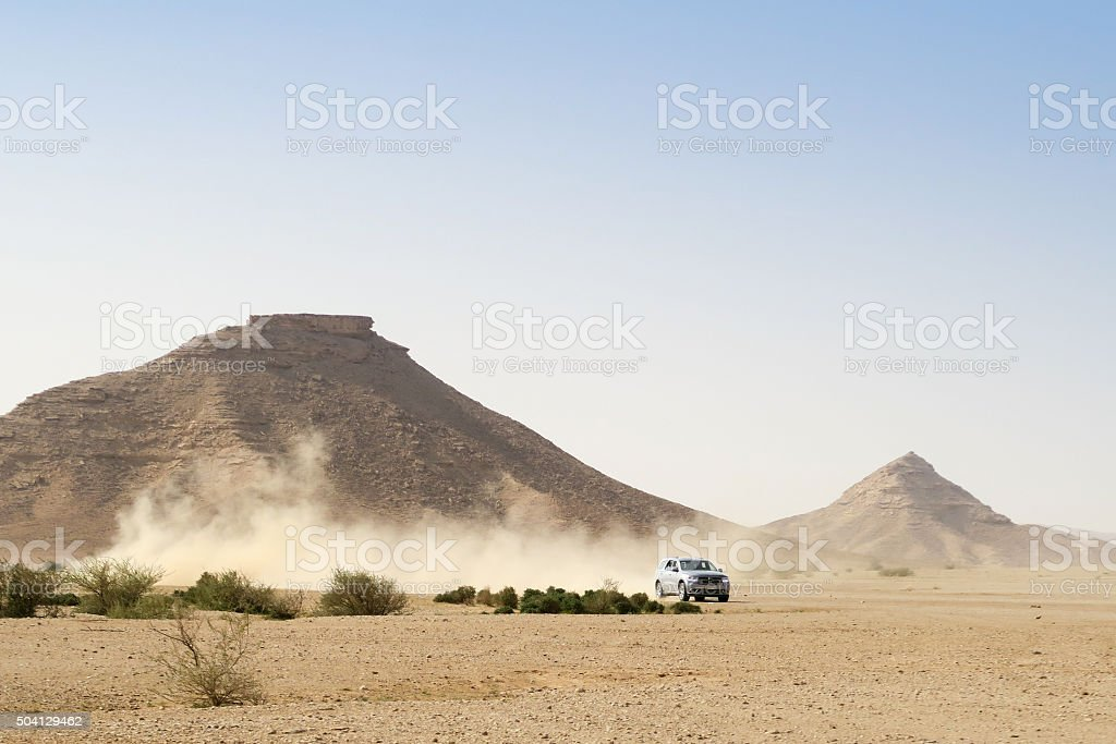 Four wheel drive ion the desert stock photo