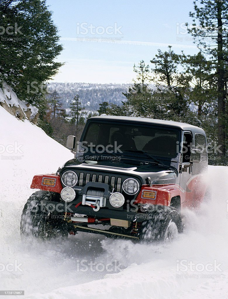 Four wheel'in in the snow (35mm slide) stock photo