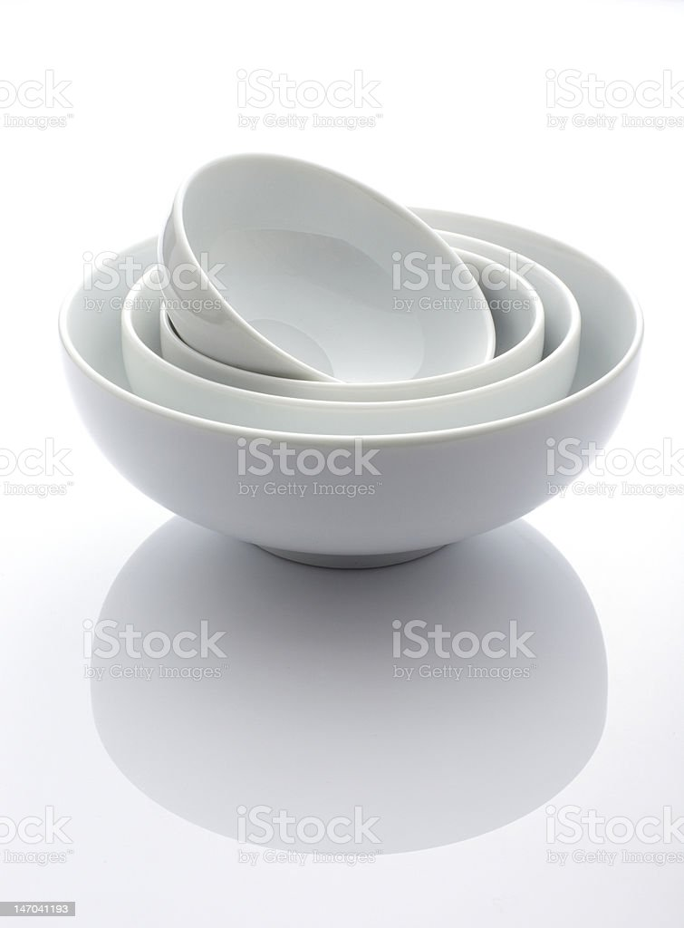 Four white pot In white background royalty-free stock photo