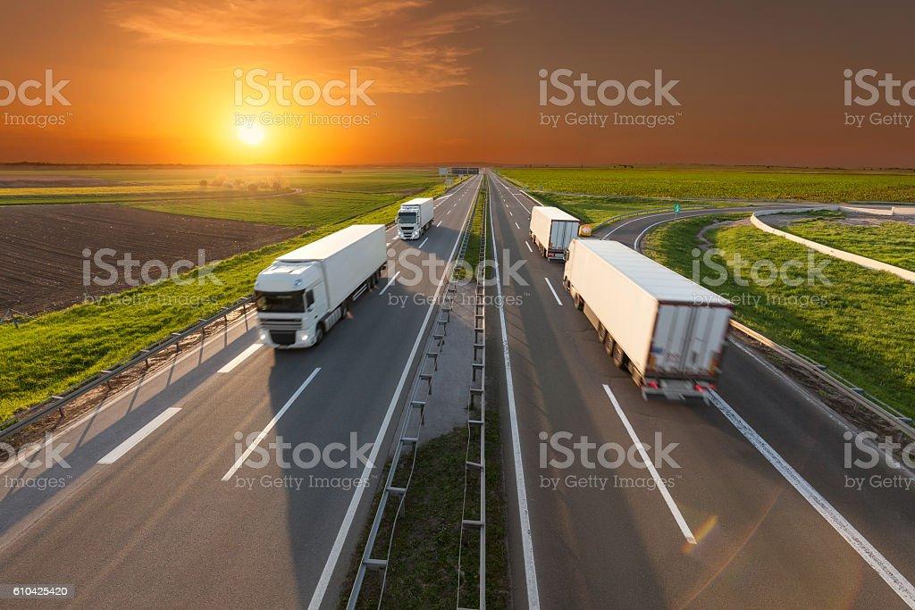 Four white trucks on highway at idyllic sunset stock photo