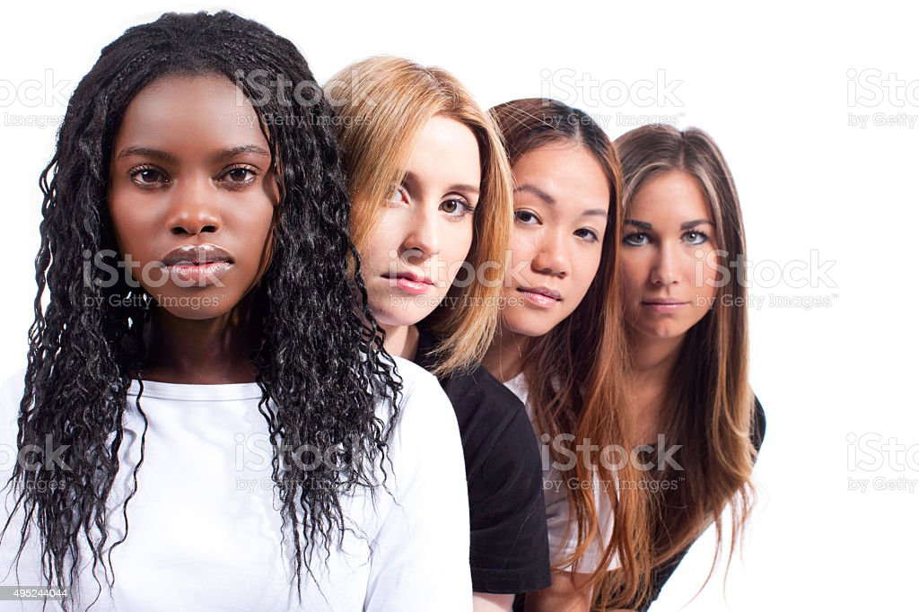 Four woman with different derivation stock photo