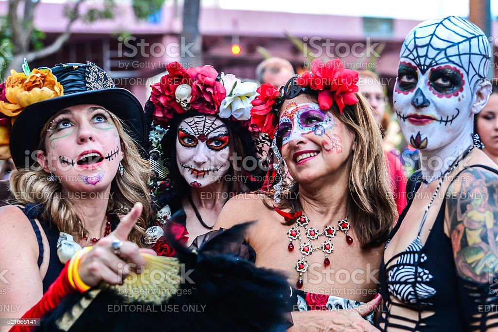 Four Women Day of the Dead Revelers stock photo
