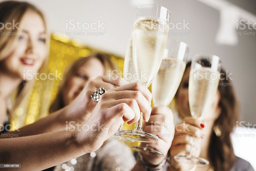 Four women ready for party stock photo