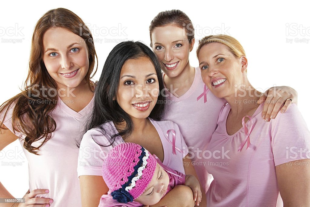 Four women with a baby against a white background royalty-free stock photo