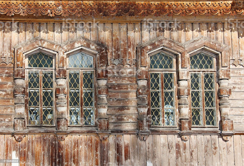 four wooden windows - detail of Orthodox Holy Trinity Cathedral stock photo