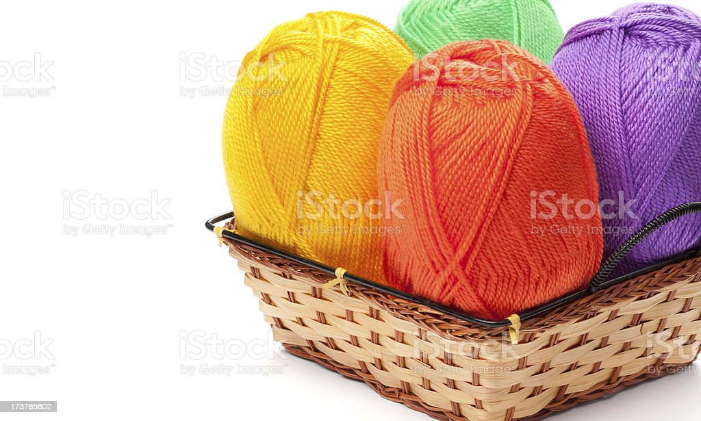 four yarn skeins  in basket royalty-free stock photo