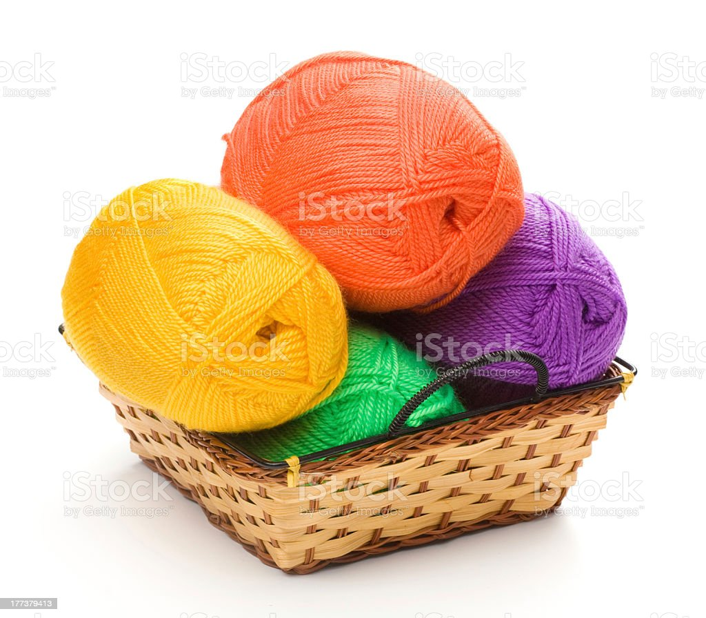 four yarn skeins  in basket stock photo