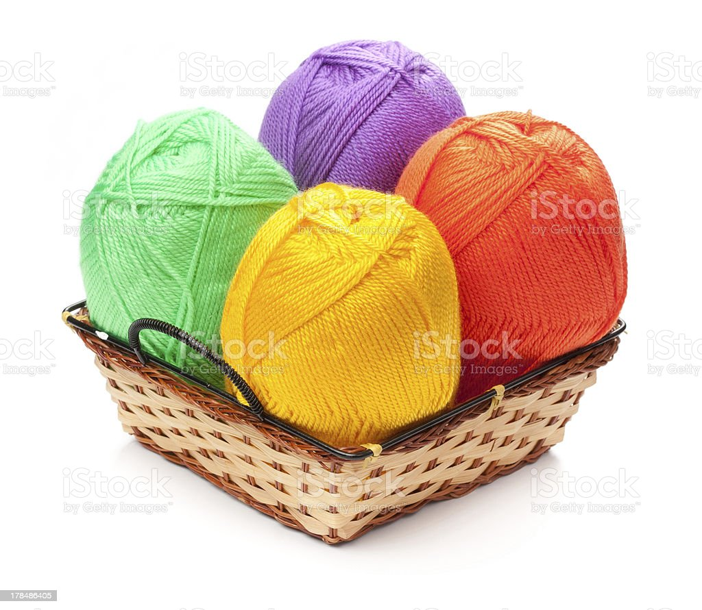 four yarn skeins  in basket stock photo