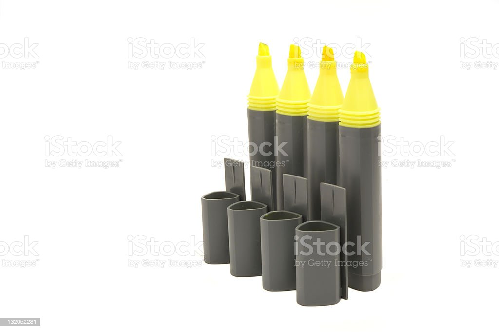 four yellow highlighter pens royalty-free stock photo