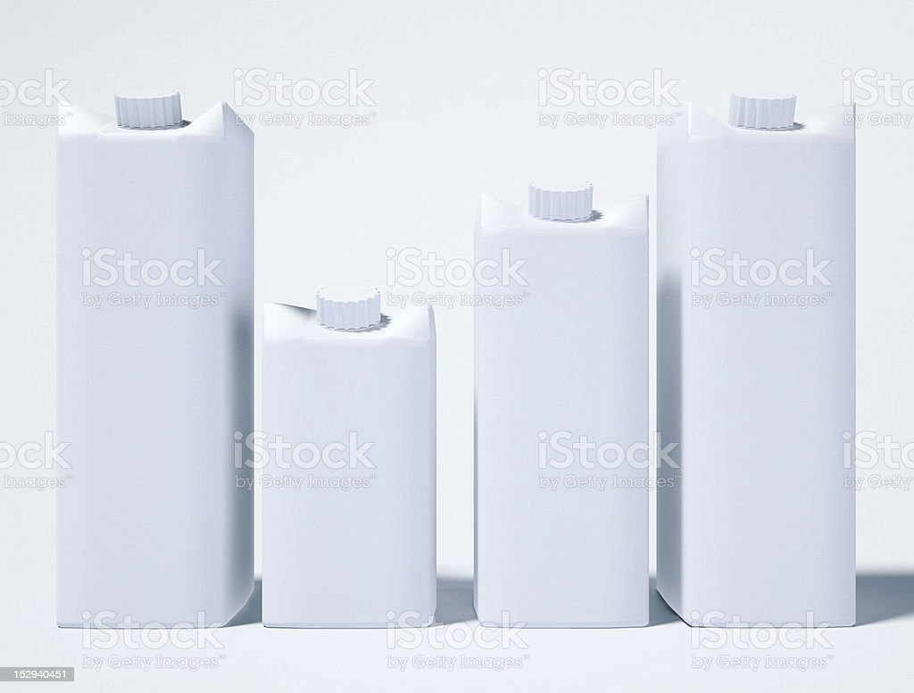 Four Yougurt/Milk/Juice Packages stock photo