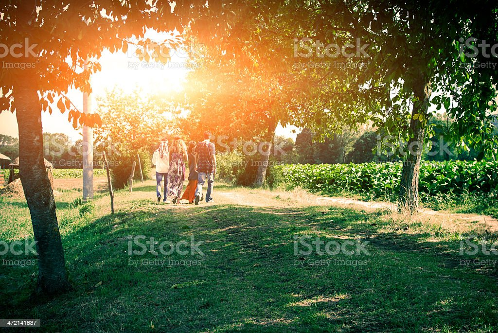 Four young adult hippie friends walking on countryside against sunset royalty-free stock photo