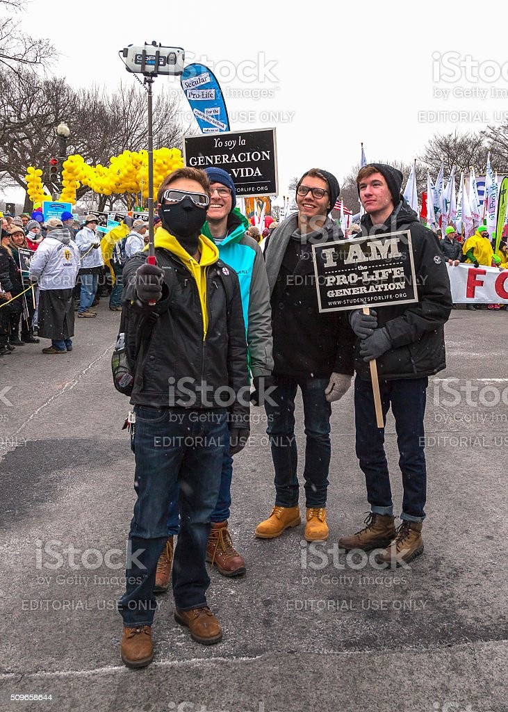 Four Young Men Taking Self Portrait During March for Life royalty-free stock photo