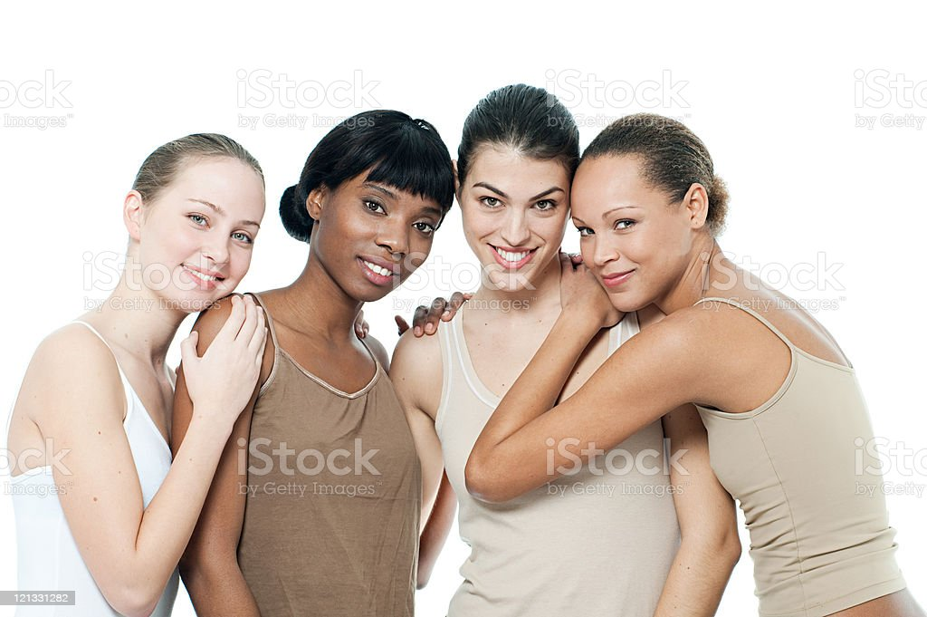 Four young women together stock photo