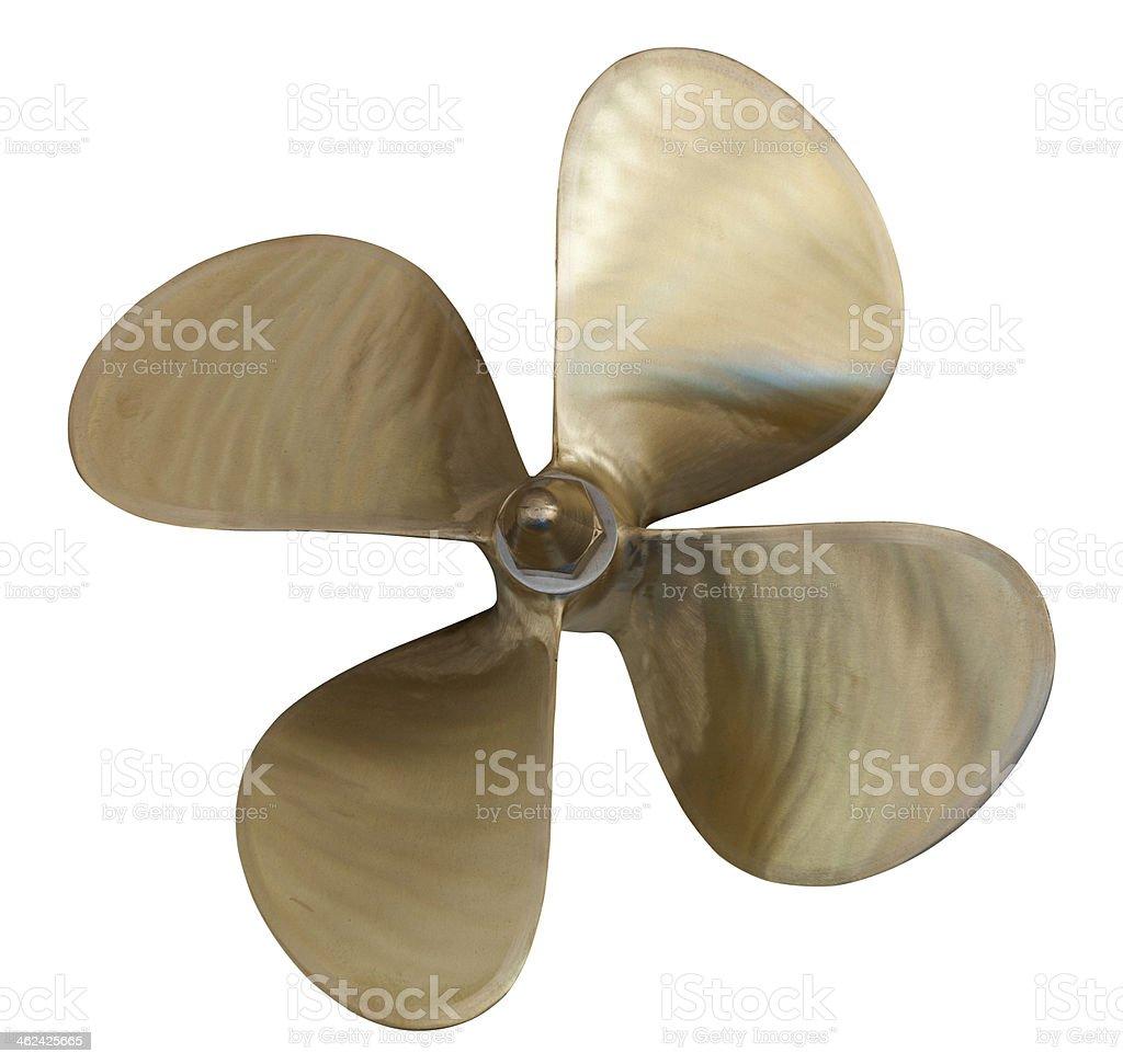 four-bladed propeller over white stock photo