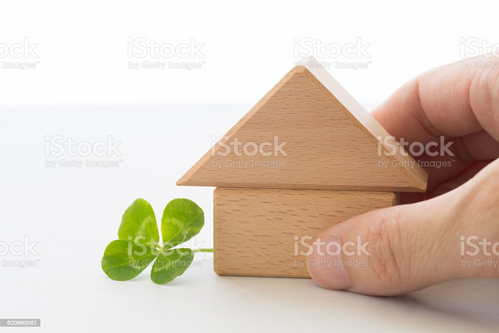 Four-leaf clover and house stock photo