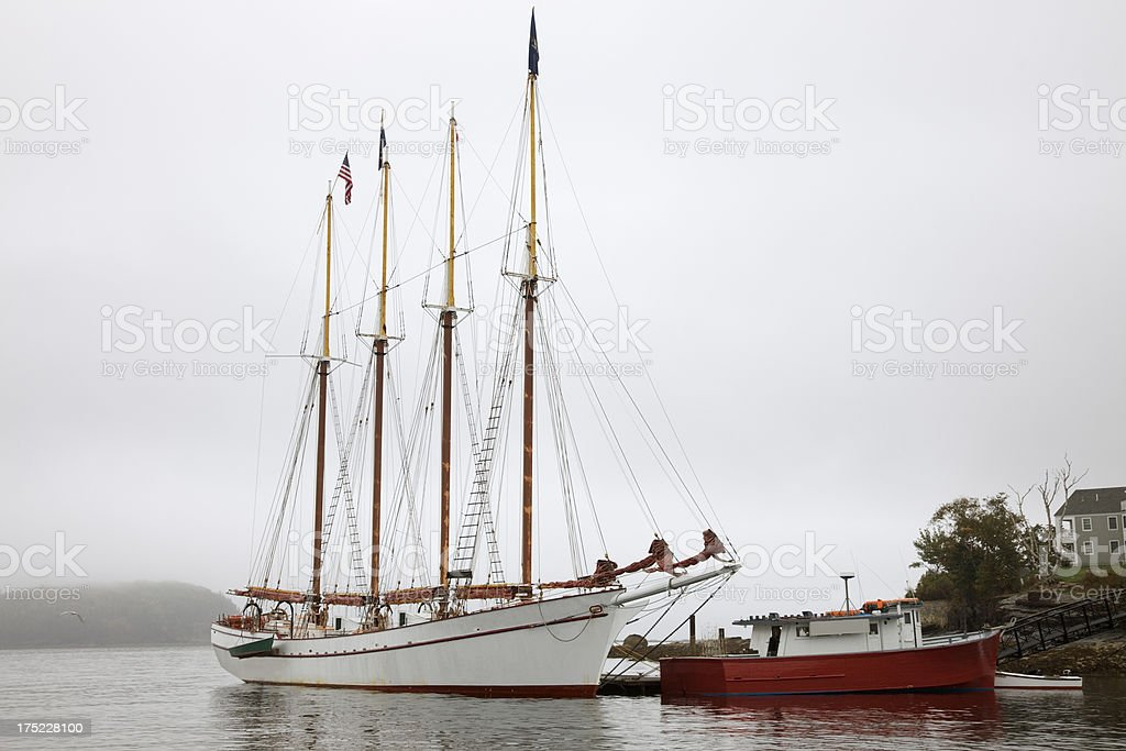 Four-mast schooner sailboat at Bar Harbor, Mount Desert Island, Maine royalty-free stock photo