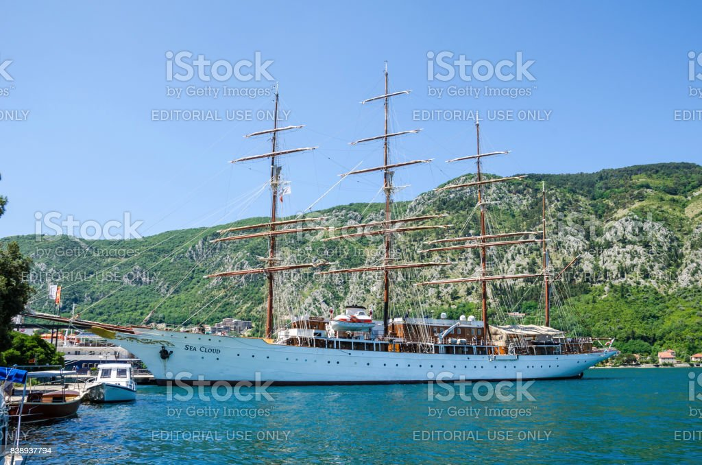 A four-masted  sailing vessel Sea Cloud in port of Kotor stock photo
