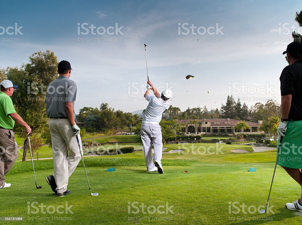 Foursome Teeing Off stock photo