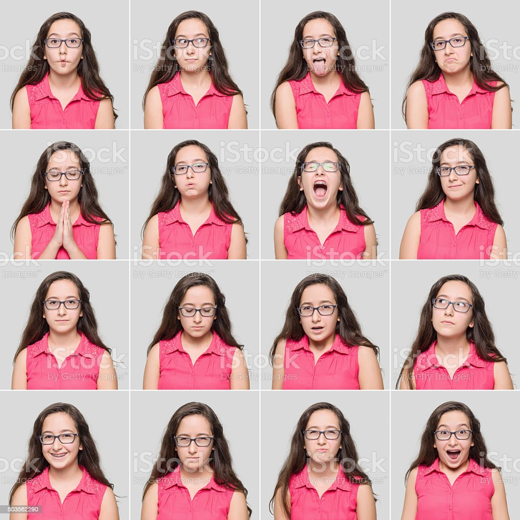 Fourteen year old young girl making different facial expressions stock photo
