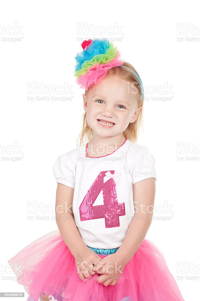 Fourth Birthday Girl stock photo