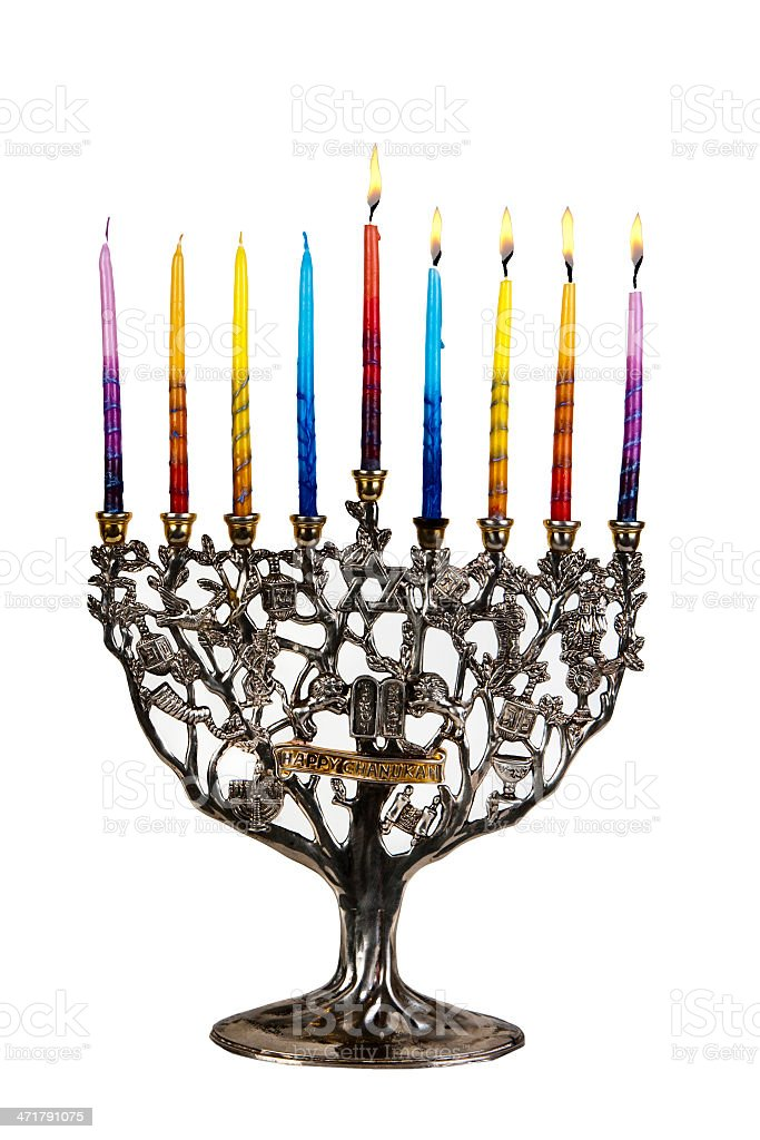 Fourth day of Chanukah. XXL royalty-free stock photo