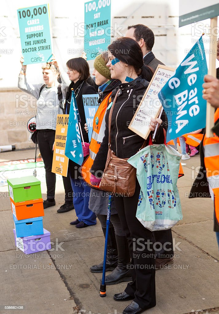 Fourth Junior Doctors' Strike. stock photo