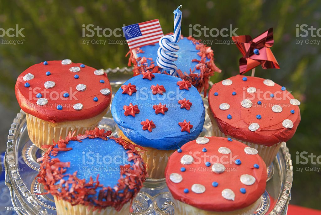 Fourth of July Cupcakes, American Flag on Patriotic Picnic Cake royalty-free stock photo