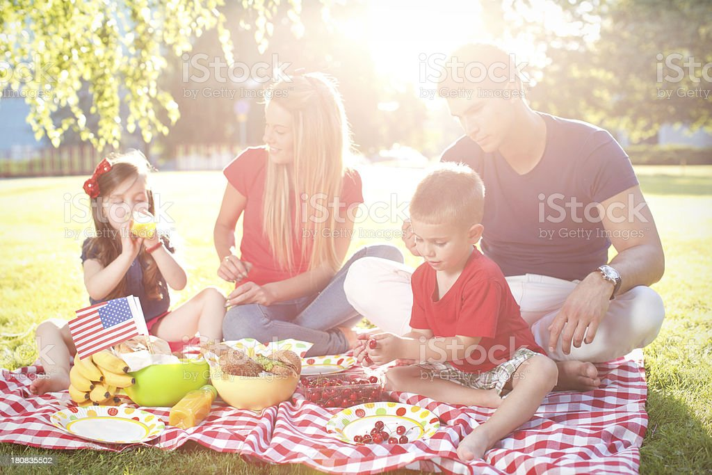 Fourth of July family picnic. royalty-free stock photo