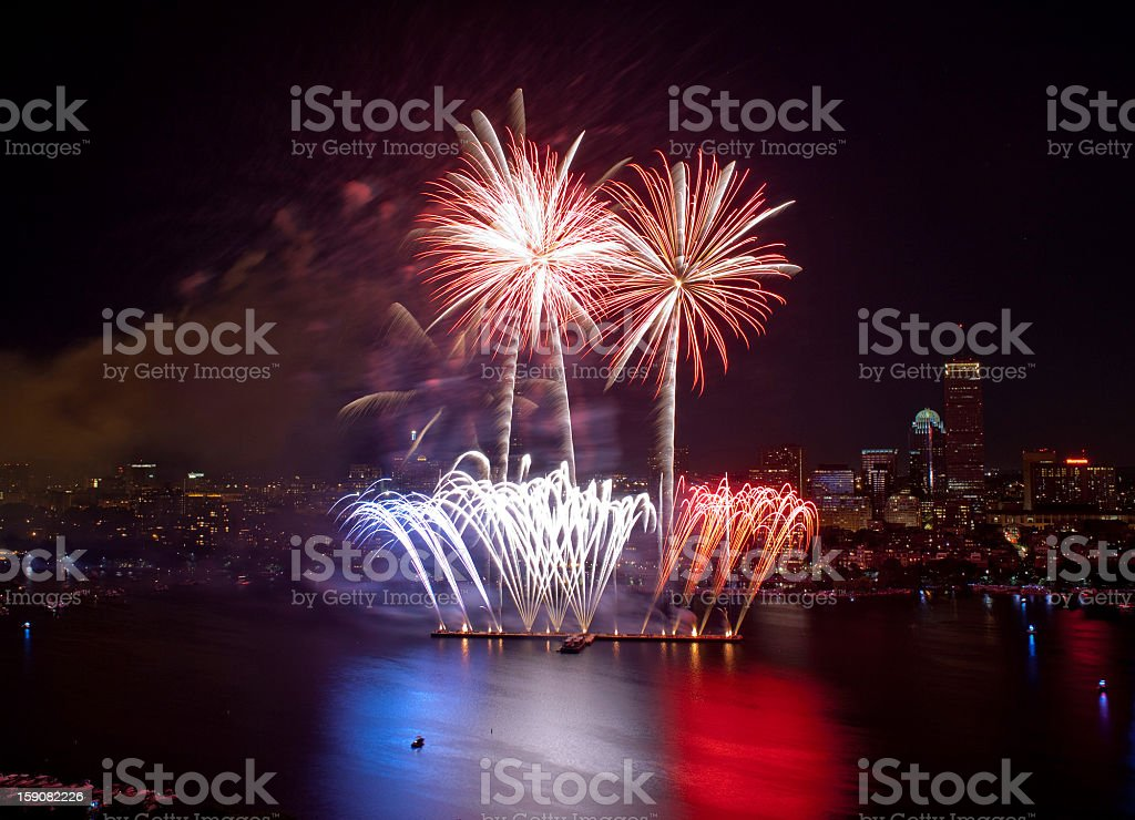 Fourth of July Fireworks in Boston 2 royalty-free stock photo