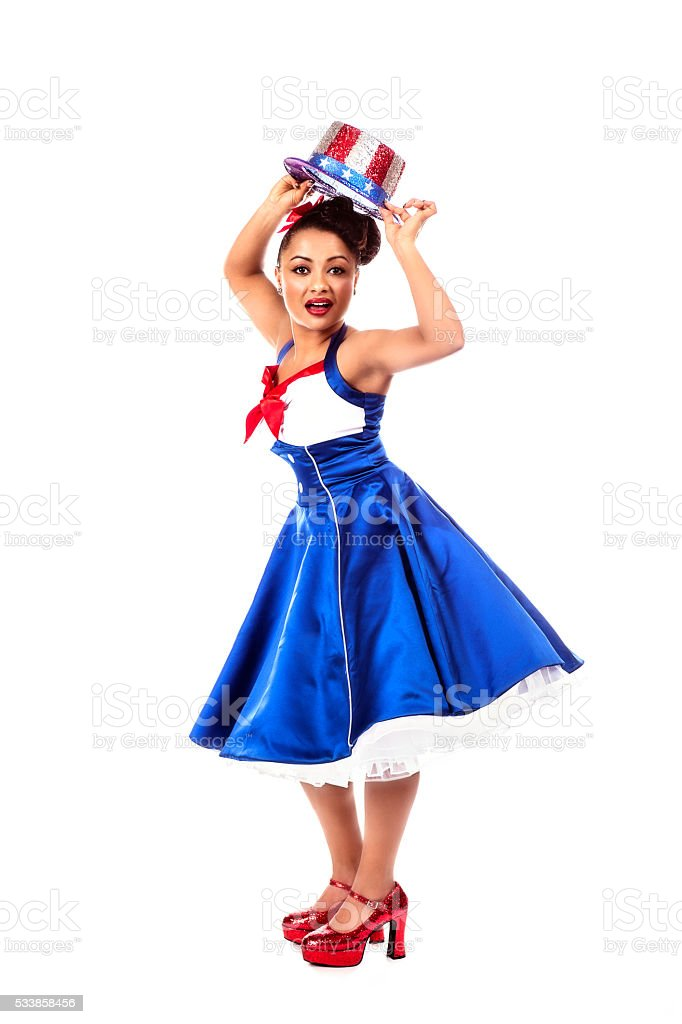 Fourth of July Lady In Red White and Blue Dress stock photo