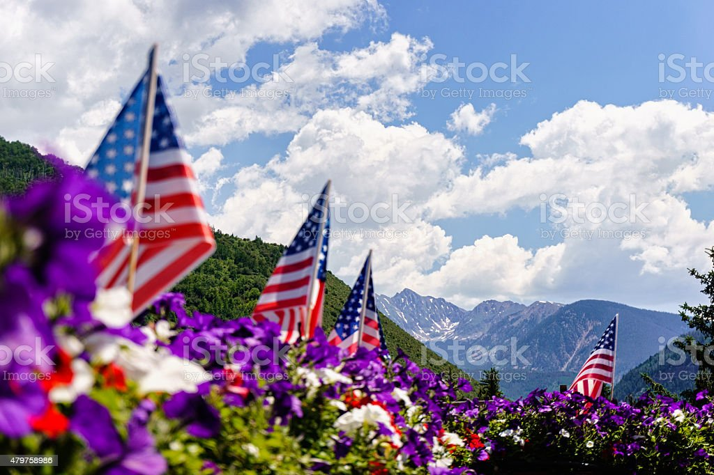 Fourth of July Mountain View Vail Colorado stock photo