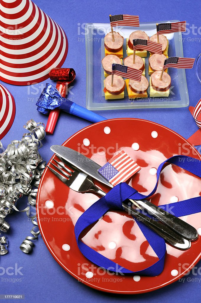 Fourth of July party table - vertical. royalty-free stock photo
