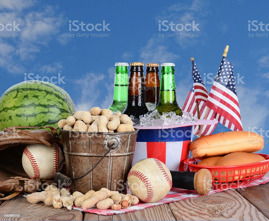Fourth of July Picnic Table stock photo