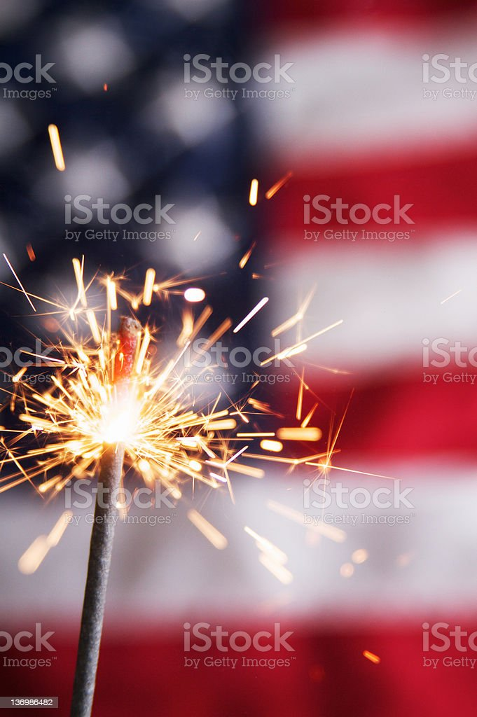 Fourth of July Sparkler stock photo