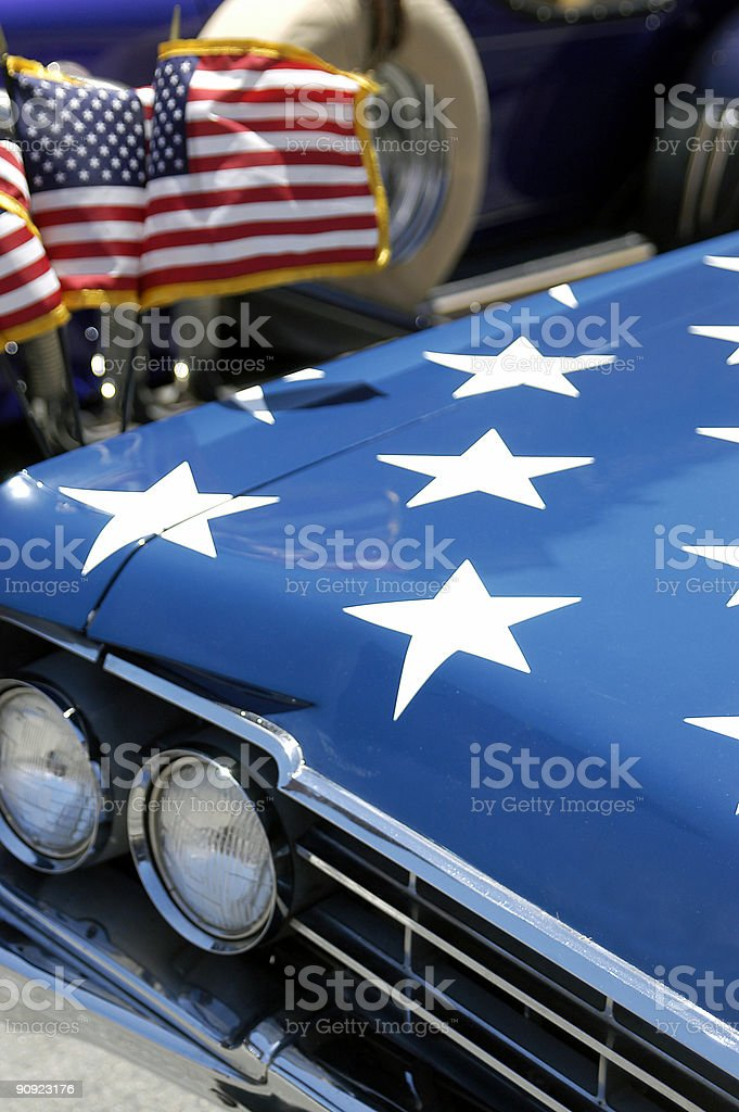 Fourth of July Stars and Stripes Car in Parade royalty-free stock photo