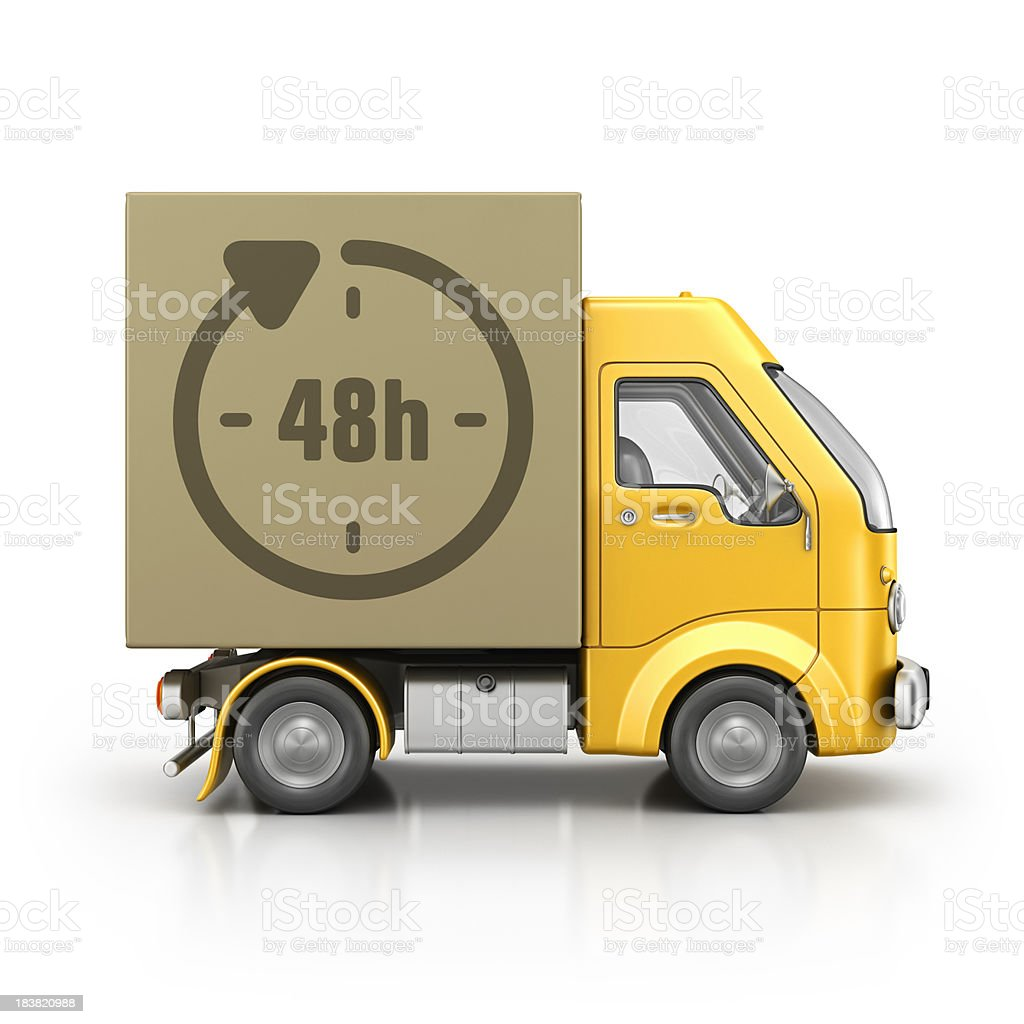 fourty eight hourse delivery van stock photo
