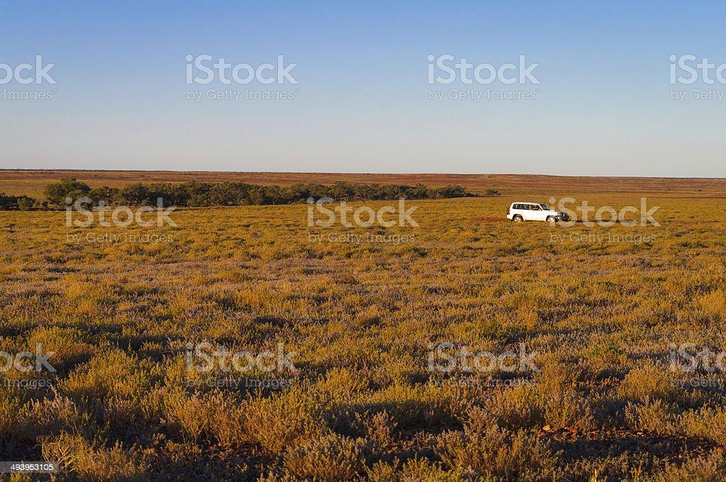 Four-wheel drive on the plains stock photo