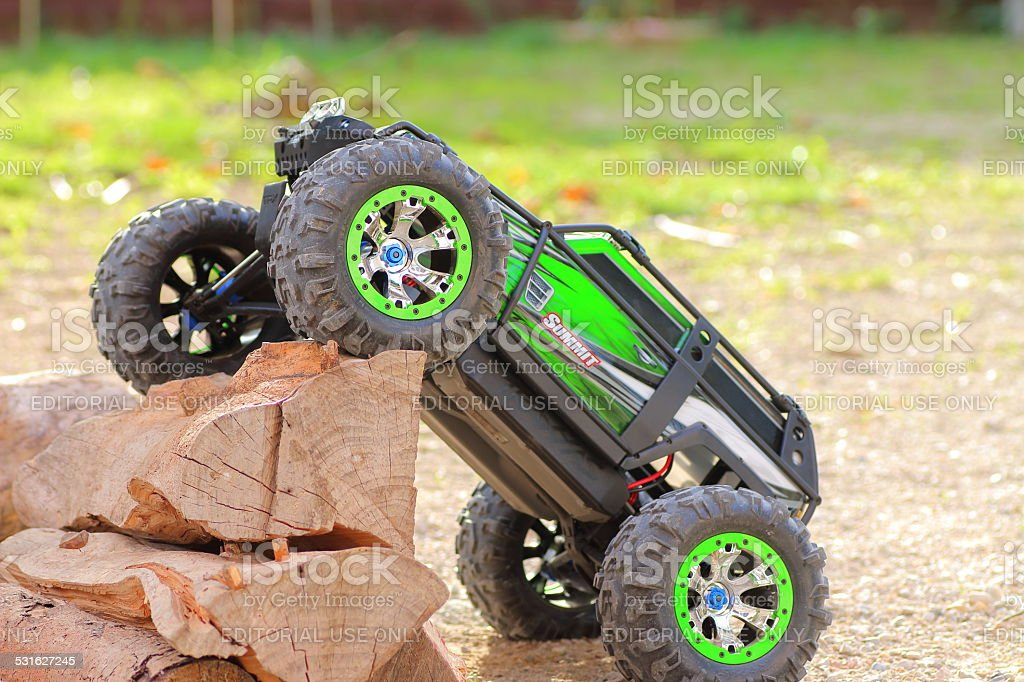 Four-wheel drive remote controlled car stock photo