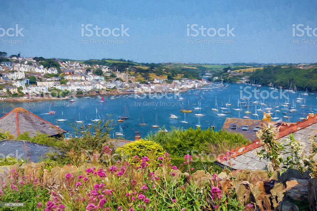 Fowey river Cornwall boats and flowers illustration like oil painting stock photo