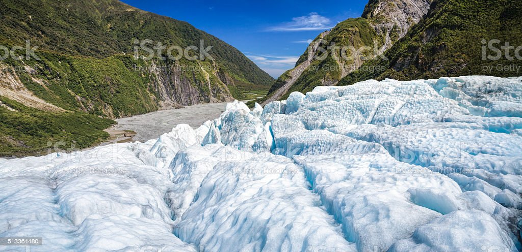 Fox Glacier in South Island of New Zealand panorama stock photo