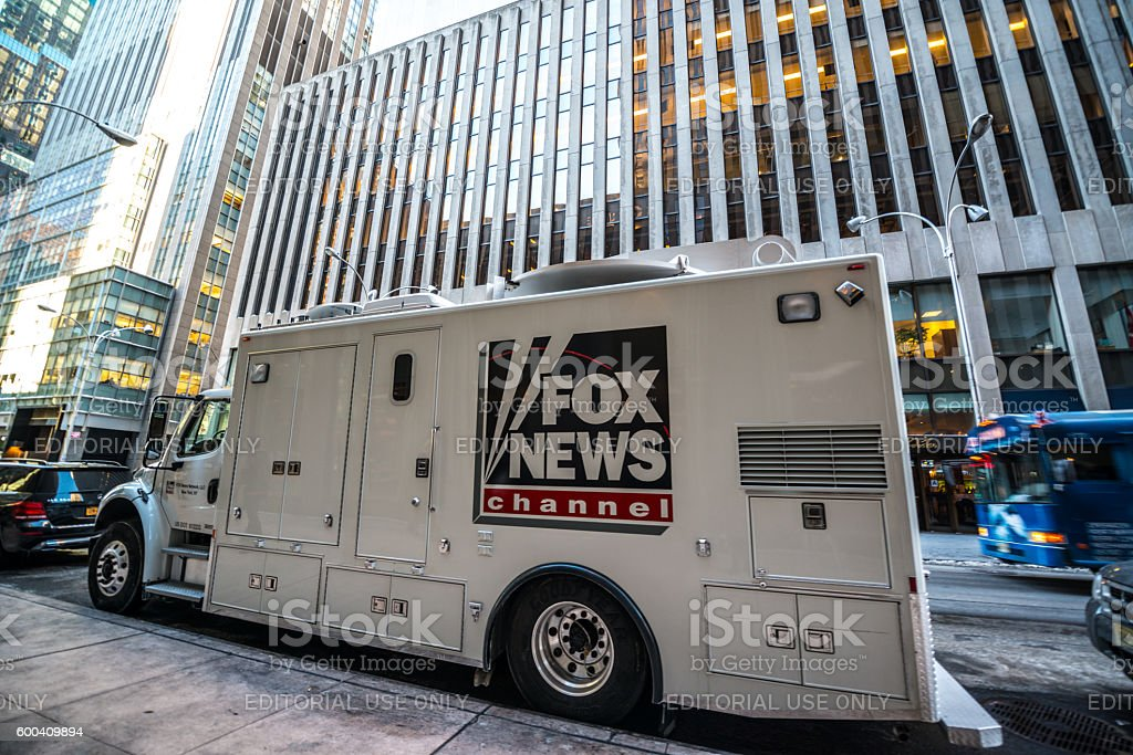 Fox News Channel Truck parked on New York street, USA stock photo