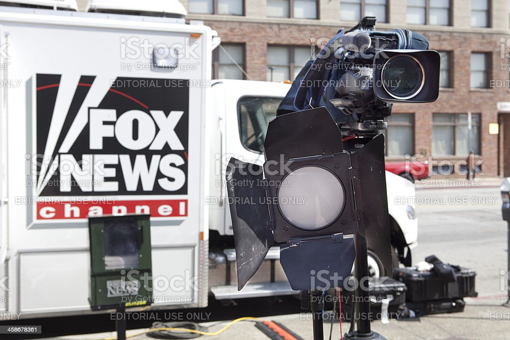 Fox News Truck and Camera on Location stock photo