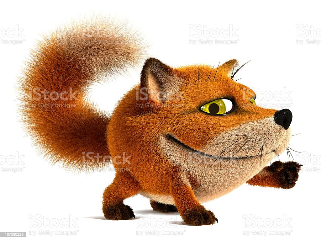 Fox. Point the finger at stock photo