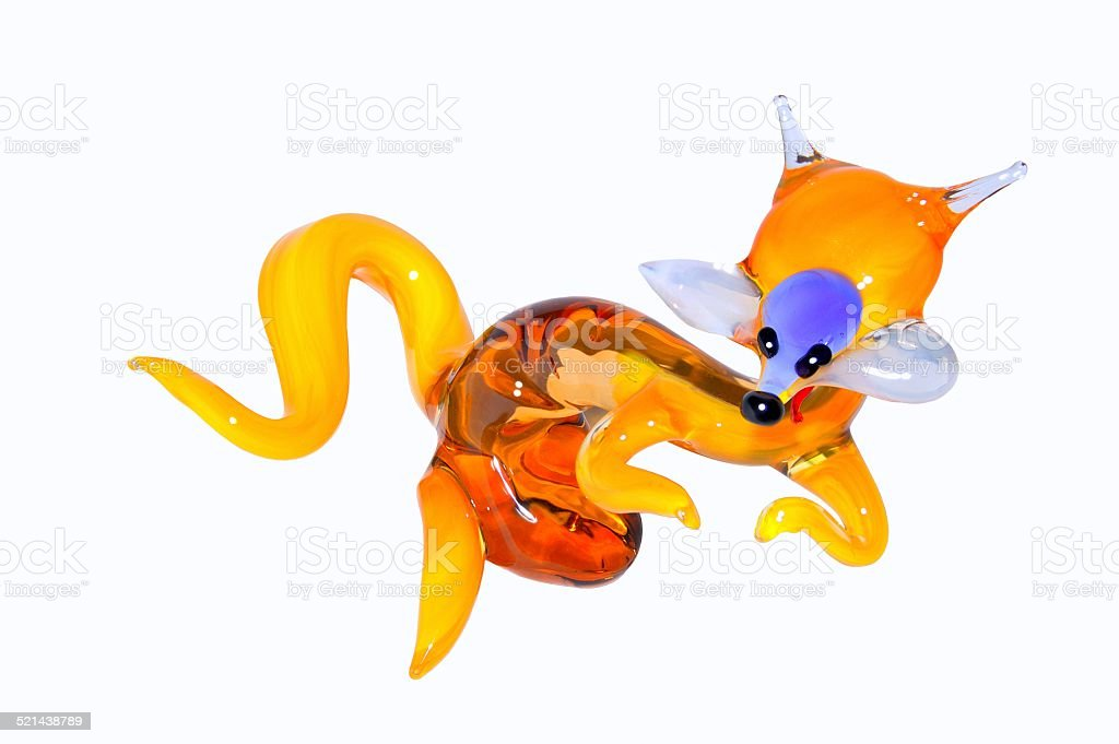 Fox statuette made from glass. stock photo