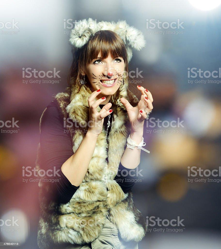 fox woman grimacing royalty-free stock photo